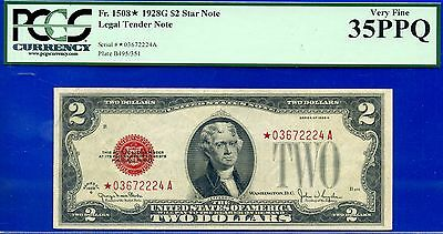 *Rare FR-1508* 1928-G $2 US Note (( STAR )) PCGS VeryFine 35PPQ # *03672224A