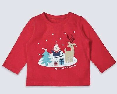 M&s Baby 0-3 3-6 9-12 My First Christmas Jumper Long Sleeve T-Shirt Top Xmas