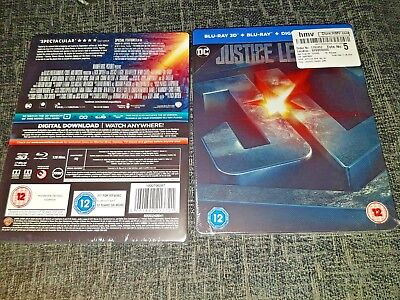 DC's Justice League 3D+2D Blu-Ray UK HMV Embossed Glossed Steelbook New & Sealed