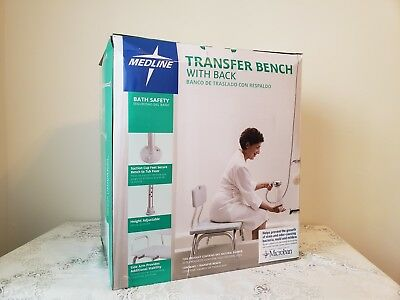 Medline Transfer Bench with Back, textured molded backrest and seating surface