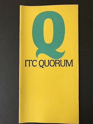 "ITC Quorum, type specification book, 24 pgs, 6"" x 12"", 1977, Ray Baker designer"