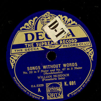 WILLIAM MURDOCH -PIANO- Mendelssohn: Songs without words/ Chopin: nocturne G1488
