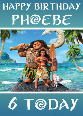 MOANA - Personalised Birthday Card - Add your own name & age