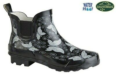 Womens Ladies Short Ankle Wellington Wellies Boots Black Butterfly Size 3 - 9 UK
