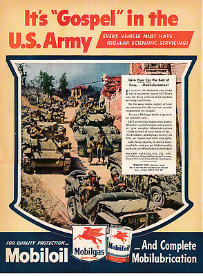 1945 Mobilgas Oil-Gospel In The Army-Tanks-Jeep-Original 13.5 * 10.5 Magazine Ad