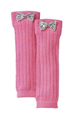 Sequin Bow Knit Leg Warmers Girls PINK One Size acrylic New Halloween Costume