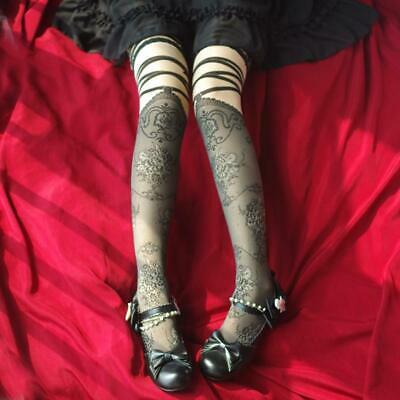 Women Girls Lolita Over Knee Thin High Stockings Lace Floral Print Black Socks
