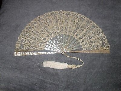 Antique Lace and Mother of Pearl Hand Fan. Vintage from late 1800's. Good cond.