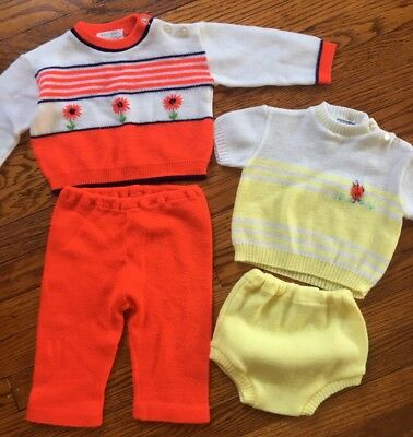 Lot Of 2 Vintage Sweater Outfits Baby Infant Toddler Ladybug Flowers