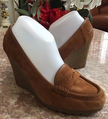 2176f5f76b5d Michael Kors Rory Walnut Suede Leather Wedge Platform Penny Loafers Size 9M   125