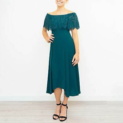 New Coast Oriel Lace Bardot Dress Forest Green Party Bridesmaid Special Was £119