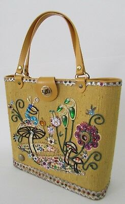 VTG 60's Enid Collins Era Yellow Jeweled Mushroom Flower Garden Purse