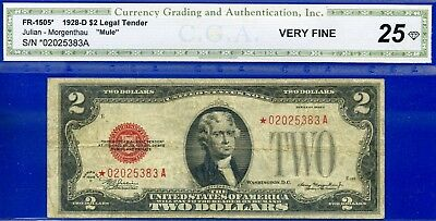 *Rare 1928-D $2 US Note (( STAR )) *** MULE *** Very Fine # *02025383A