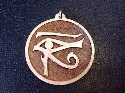"Eye Of Horus Necklace Goddess Wadjet Maplewood pendant 1.75"" Spirituality #Gift"