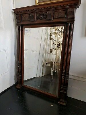 French Overmantle Carved Mirror in Oak Antique