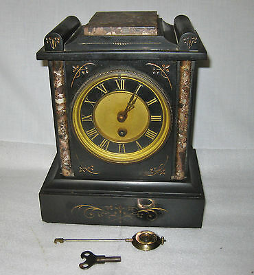 Antique French Marble, Slate key wind shelf clock early 1900s
