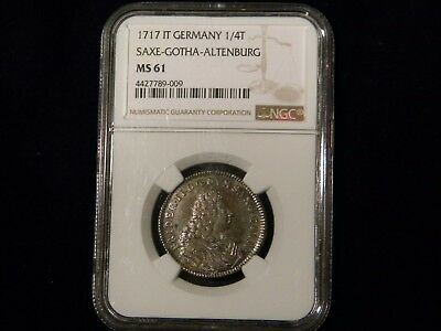 1717IT German States Saxe-Gotha-Altenburg 1/4 Thaler NGC MS 61