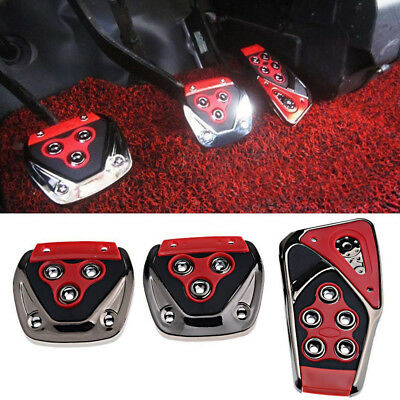 3Pcs/Set Safety Red Non-Slip Foot Pedals Pads Covers For Manual Car Universal