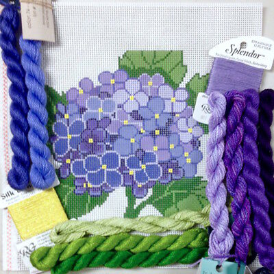 Handpainted needlepoint canvas Lee Needle Arts Hydrangea Blossom with thread kit