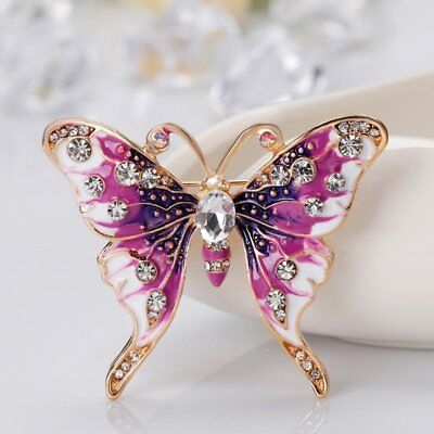 Fashion Women Jewelry Butterfly Crystal Rhinestone Brooch Pin Party Costume Gift