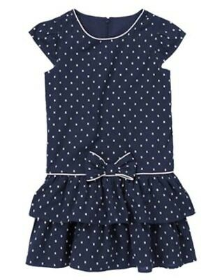 NWT Gymboree Spring Collection SZ 5 6 7 Navy Swiss Dot Ruffle Dress Girls Easter