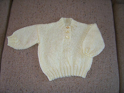 New Hand Knitted Baby Jumper Pale Lemon  12 - 18 Months Approx