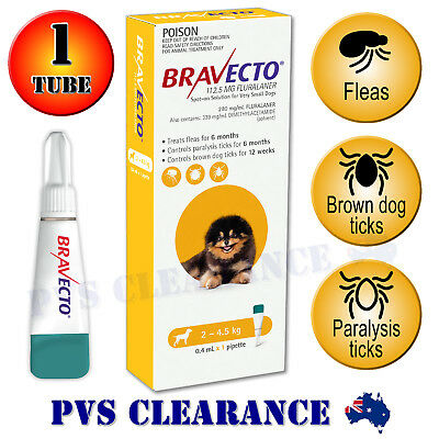 Bravecto Yellow Spot On for Very Small Dogs -  2-4.5 kg - Spot-on Flea & Tick