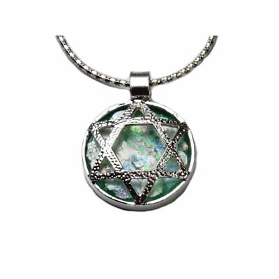 Ancient Roman Glass Necklace with Star of David Sterling Silver with Snake Chain