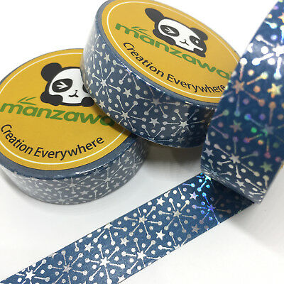 Washi Tape Silver Foil Snowflakes On Blue 15Mm X 10Mtr Craft Mail Art Plan Wrap