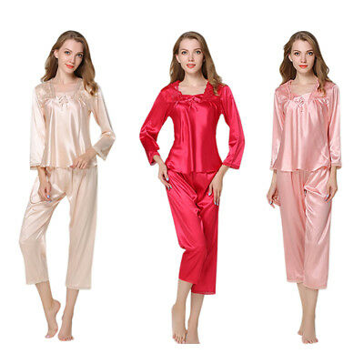 Autumn Women Silk Pajamas 2 Sets Long Sleeve Sleepwear Casual Lace Home Wea P9L1