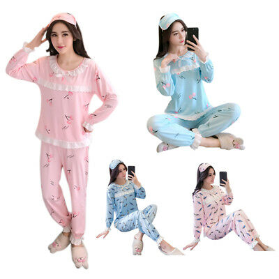 Women Autumn Cartoon Long Sleeve pajamas sets Cute Sleepwear Cotton Home We X6V9