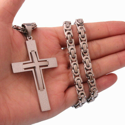 Men Boy Silver Two Cross Pendant Byzantine Necklace Stainless steel No fade