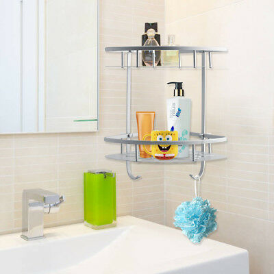 Practical 2 Tiers Shower Caddy Shelf Bathroom Corner Rack Storage Towel Holder
