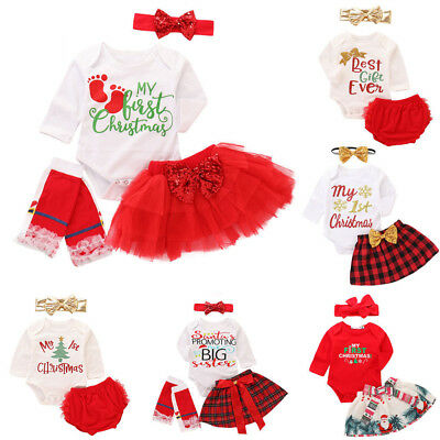 Christmas Baby Girl Romper Tops Jumpsuit Skirt Dress Headband Outfit Clothes Set