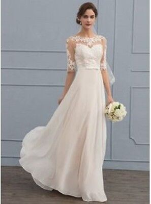 A-Line/Princess Scoop Neck Floor-Length Chiffon Wedding Dress With Beading Sequi