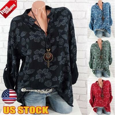 Womens Long Sleeve Blouse Tops Flower Print Button V Neck Casual Shirt Plus Size