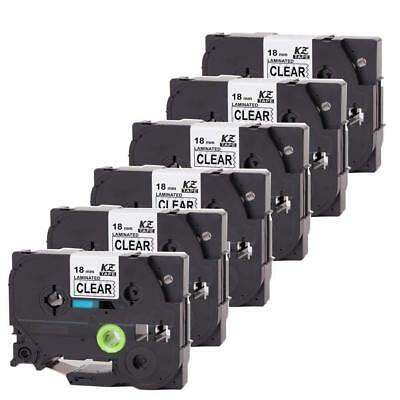 6PK Compatible For Brother Label Tape Label maker TZe 241 18mm Laminated P-Touch