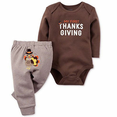 US Newborn Baby Boys Girls Thanksgiving Turkey Romper Tops+Striped Pants Outfit