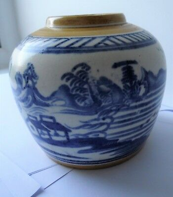 Antique Porcelain Chinese Blue & White Chinese Oriental Scenes Ginger Jar