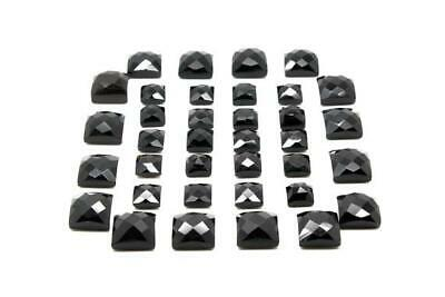 Black Semiprecious Faceted Cabochon Natural Square Onyx Bulk Sale Loose Gemstone