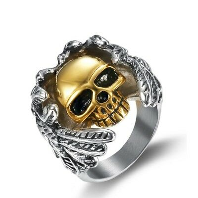 Chic Mens Heavy Silver 316L Stainless Steel Gold Skull Wing Finger Ring Jewelry