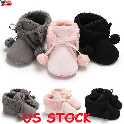 US Infant Baby Toddler Warm Boots Kids Boys Girls Winter Snow Fur Shoes Sneakers