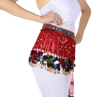 Prettyia Tribal Belly Dance Costume Hip Scarf Belt Coins Triangle Wrap Skirts