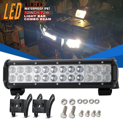 12Inch 72W LED Light Bar Offroad Work Lamp Spot Flood Combo 4WD SUV BUMPER LIGHT