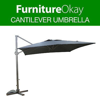 Outdoor Charcoal 3m Garden Patio Pool Deck Market Shade Cantilever Umbrella