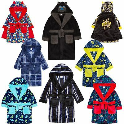 Boys Kids Babies Dressing Gown Robe Plush Fleece Velvet Soft Cosy Warm Gift