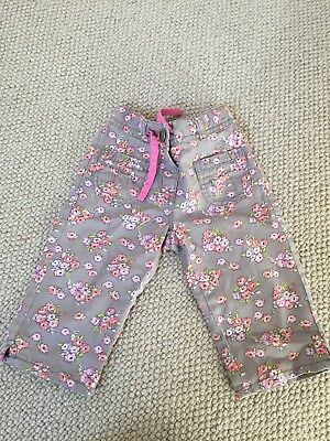 Boden Floral Cropped Trousers Size 3yrs Pretty Flowers Cotton