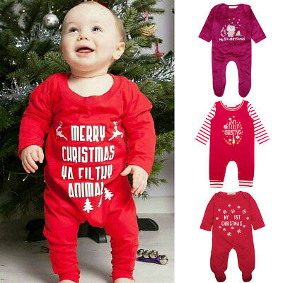 My First Christmas Long Sleeve Bodysuit Jumpsuit Xmas Clothes for Baby Girl Boy
