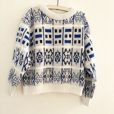 Vintage 90s Barrel Kids Sweater Blue White Acylic Long Sleeve Small 8