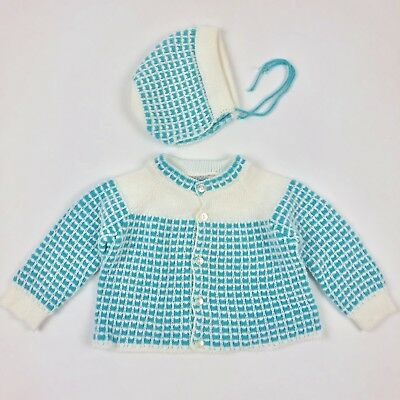 Vintage Marshall Field & Co Long Sleeve Sweater Bonnet Set Blue Baby Gift Doll